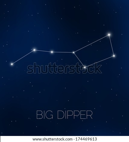 Big Dipper constellation in night sky - stock vector