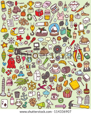 Big Doodle Icons Set : collection of numerous small hand-drawn illustrations (vignette) : No. 5 - stock vector