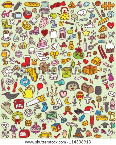 Big Doodle Icons Set : collection of numerous small hand-drawn illustrations (vignette) : No. 7 - stock vector