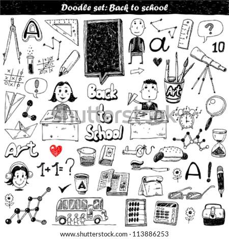 big doodle set - Back to school - stock vector