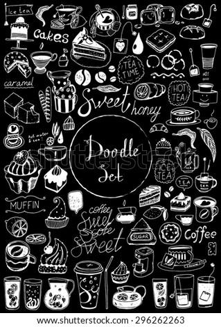 Big doodle set - Coffee, tea, bakery - stock vector