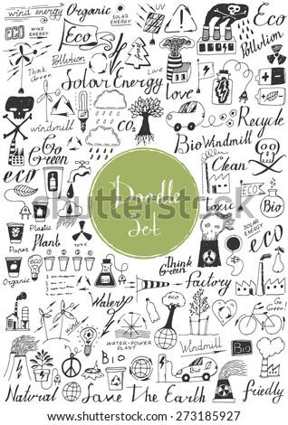 Big doodle set - Eco - stock vector