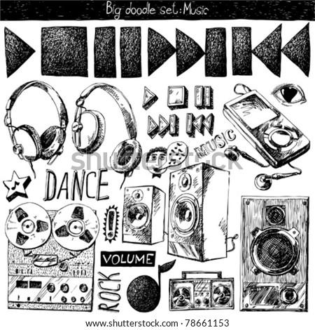 big doodle set - music - stock vector