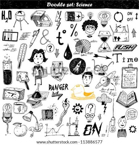 big doodle set - science - stock vector