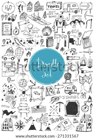 Big doodle set - Travel, camping - stock vector