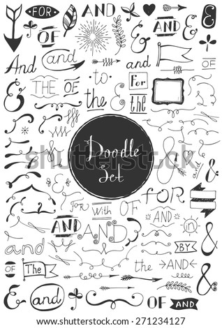 Big doodle set - Vintage elements - stock vector