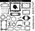 big doodle set - vintage frame - stock vector
