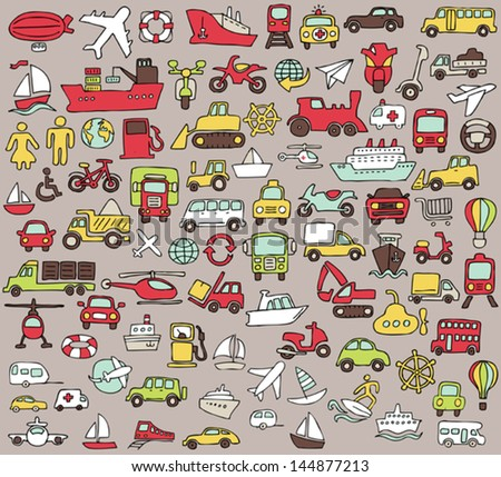 Big doodled transportation icons collection in colors. Small hand-drawn illustrations are isolated (group) and in eps8 vector mode. - stock vector