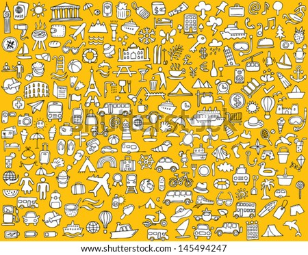 Big doodled travel and tourism icons collection in black-and-white. Small hand-drawn illustrations are isolated (group) and in eps8 vector mode. - stock vector