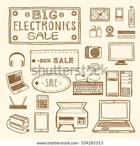 Big electronics sale. Set of electronic devices. Vintage style, hand drawn pen and ink.  Vector clip art for scrapbooking or wrapping. Retro design element for packaging, flyer, banner, advertisement - stock vector