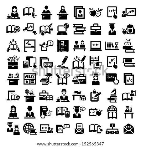 Big Elegant Vector Education And School Icons Set. - stock vector