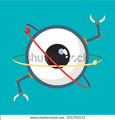 Big Eye Atom with Robot hands illustration. Science and Education concept - stock vector