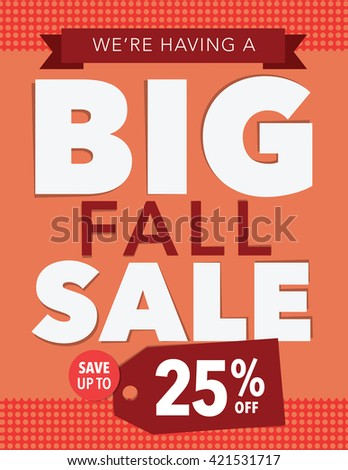 Big fall sale up to 25% off poster - stock vector