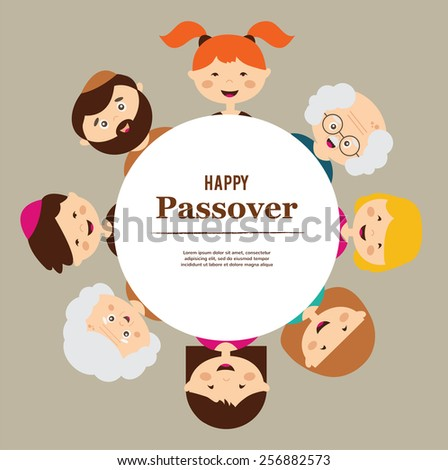 big family around passover  plate. happy holiday.  - stock vector
