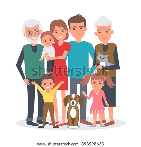 Big family vector illustration. Big family with children, parents, grandparents and pets. Family portrait isolated on white background. - stock vector