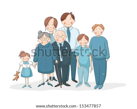 Big family with grandparents, parents and children. EPS 10. No transparency. No gradients. - stock vector