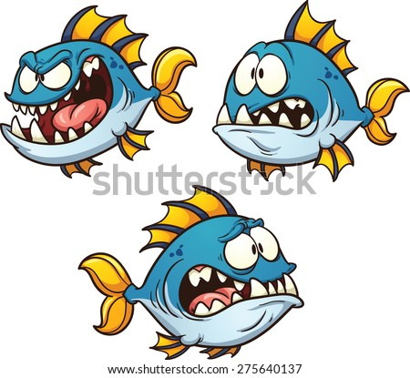 Big, fat and evil cartoon fish. Vector clip art illustration with simple gradients. Each on a separate layer. Eye pupils on separate layers for easy editing. - stock vector