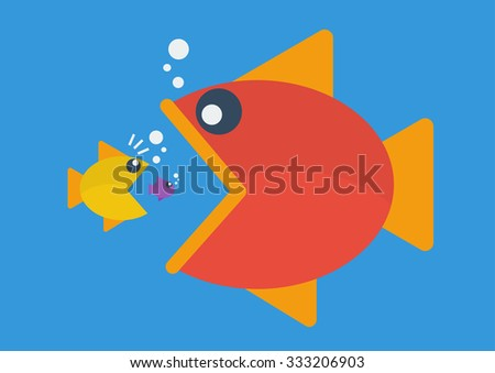 Big fish eat little fish. Flat style. Business Concept - stock vector
