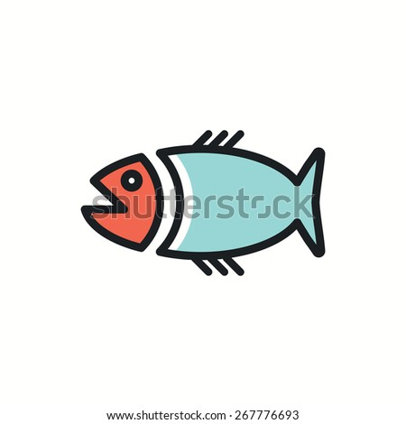 big fish icon.vector illustration. - stock vector