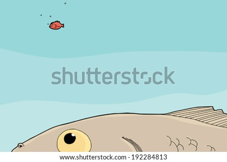 Big fish staring at smiling little goldfish - stock vector