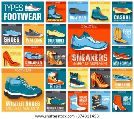 big flat illustration collection set of shoe wear classic, retro, trend, sport style backgrounds. Vector concept elements icons. Colorful template for you design, poster, web and mobile applications - stock vector