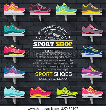 big flat illustration collection set of sneakers classic, retro, trend, sport style backgrounds. Vector concept elements icons. Colorful template for you design, poster, web and mobile applications - stock vector