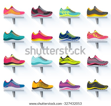 big flat illustration collection set of sneakers running, walking, shopping, style backgrounds. Vector concept elements icons. Colorful template for you design, poster, web and mobile applications - stock vector