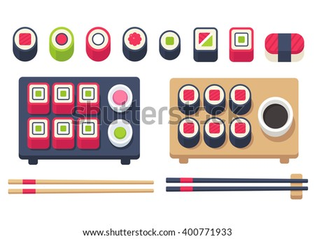 Big flat sushi set  with chopsticks and accessories. Japanese food set, sushi rolls and sashimi. Vector illustration. - stock vector