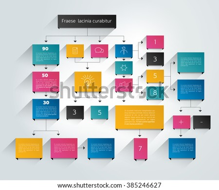 Big flow chart scheme. Colored shadows scheme. - stock vector
