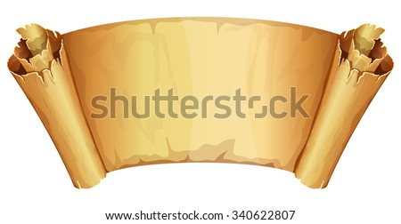 Big golden ribbon scroll of parchment on white background - stock vector