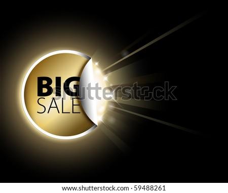 Big golden sale label with surprise - stock vector