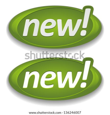 Big green new buttons - stock vector