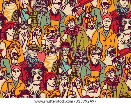 Big group people and pets color seamless pattern. Big group of pets and people. Seamless pattern. Color vector illustration. EPS8 - stock vector