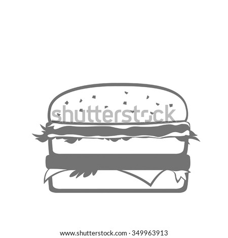 Big hamburger. Flat vector. - stock vector