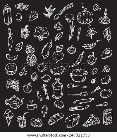 Big hand drawn doodle kitchen and food set on a black chalkboard - stock vector