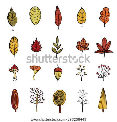 Big hand drawn vector package of autumn objects. Autumn leaves, berries, mushrooms, trees. Icons collection. - stock vector