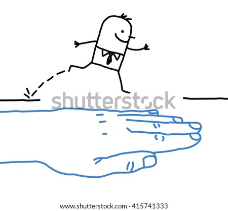 big hand with cartoon character - help - stock vector