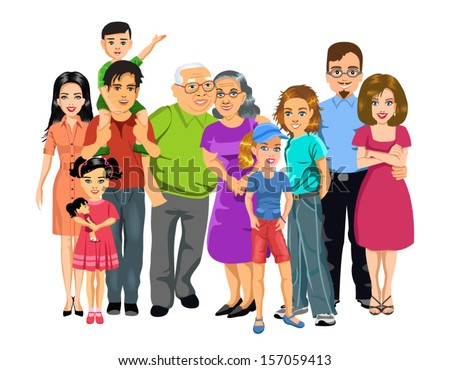 big happy family - stock vector