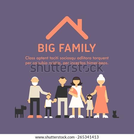 Big Happy Family. Parents with Children. Father, mother, children, grandpa, grandma - stock vector