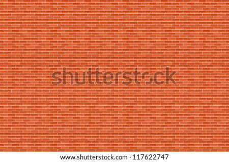 Big horizontal brown brick wall, vector eps10 illustration - stock vector