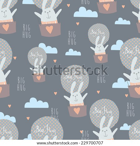 Big Hug. Seamless background with happy bunny  - stock vector