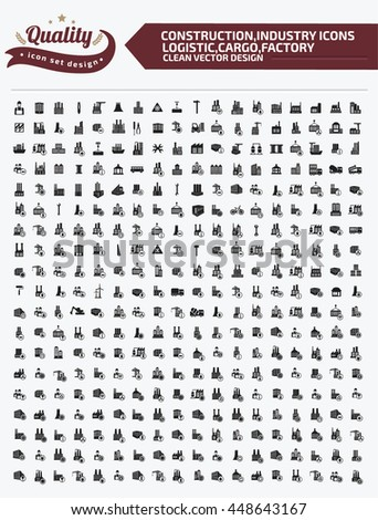 Big icon,Construction icon,industry icon,logistic icon,cargo icon,factory icon,clean vector - stock vector