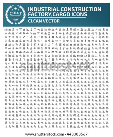 Big icon,Industry icon,construction,factory icon,cargo icon,clean vector - stock vector