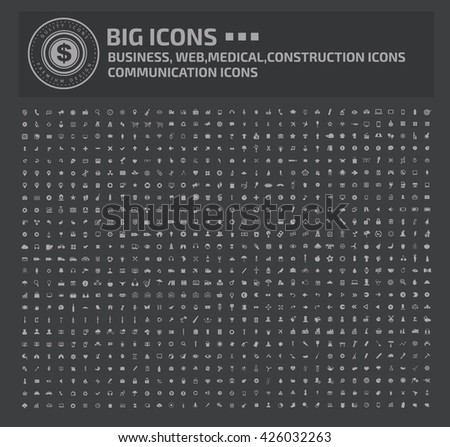 Big icon set,Business,Web,Medical,Construction,Communication icons,vector - stock vector