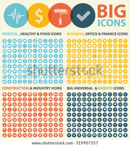 Big icon set,Medical,Construction,industry,Business,office, and website icons design,vector - stock vector