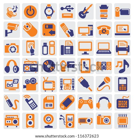 big icon set of electronic devices on gray - stock vector
