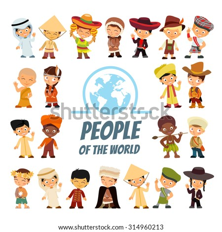 Big icon set with people of various nationalities in traditional costumes. Peoples from around the world. Isolated on white.Vector illustrations - stock vector