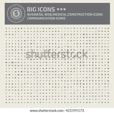 Big icons,Business,web,media,medical,construction and communication icons,vector - stock vector