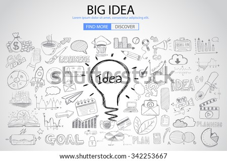 Big Idea concept with Doodle design style :Finding Solutions, UI design,creative thinking. Modern style illustration for web banners, brochure and flyers. - stock vector
