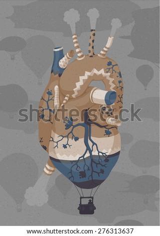 Big inflatable heart. Vintage Hand drawn illustration. Ukraine - stock vector
